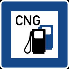Znak drogowy oznaczający stację paliw CNG